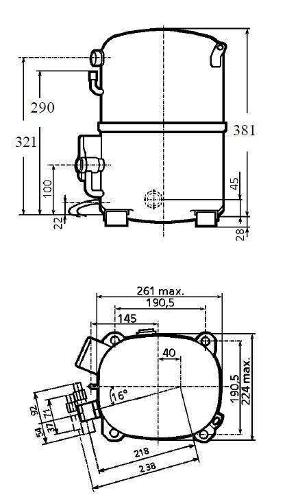 Чертеж и габаритные размеры компрессоров TAG4553 / TAG4561