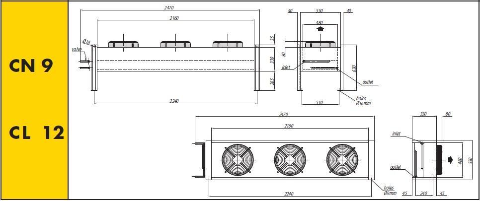 Чертеж и габаритные размеры конденсаторов Crocco CN 9, CL12