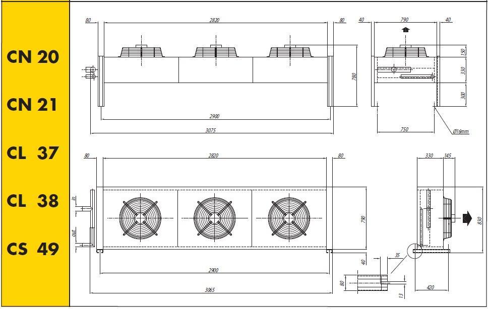 Чертеж и габаритные размеры конденсаторов Crocco серий CN20,21 CL37,38 CS49