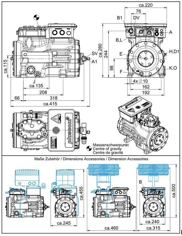 Габаритный чертеж компрессоров Bock HG12P