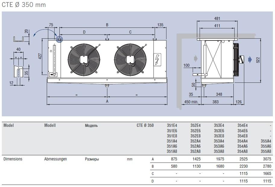 Чертеж и габаритные размеры воздухоохладителей ECO Luvata серии CTE, d=350 mm