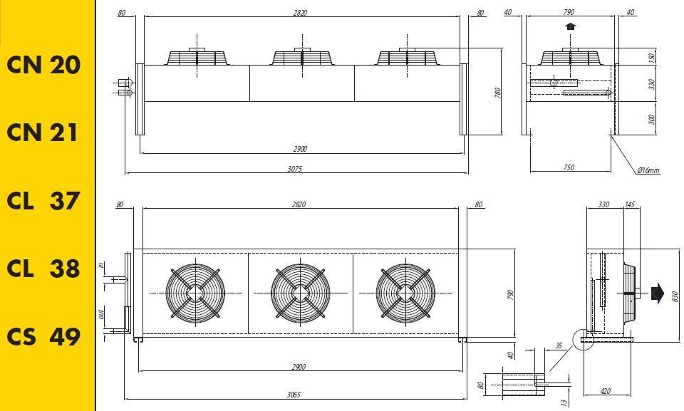 Чертеж и габаритные размеры конденсаторов Crocco CN 20, 21, CL 37, 38, 49