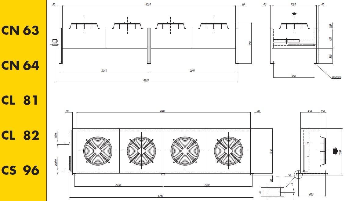 Чертеж и габаритные размеры конденсаторов Crocco CN 63, 64, CL 81, 82, CS 96