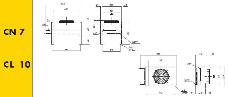 Чертеж и габаритные размеры конденсаторов Crocco CN 7, CL 10