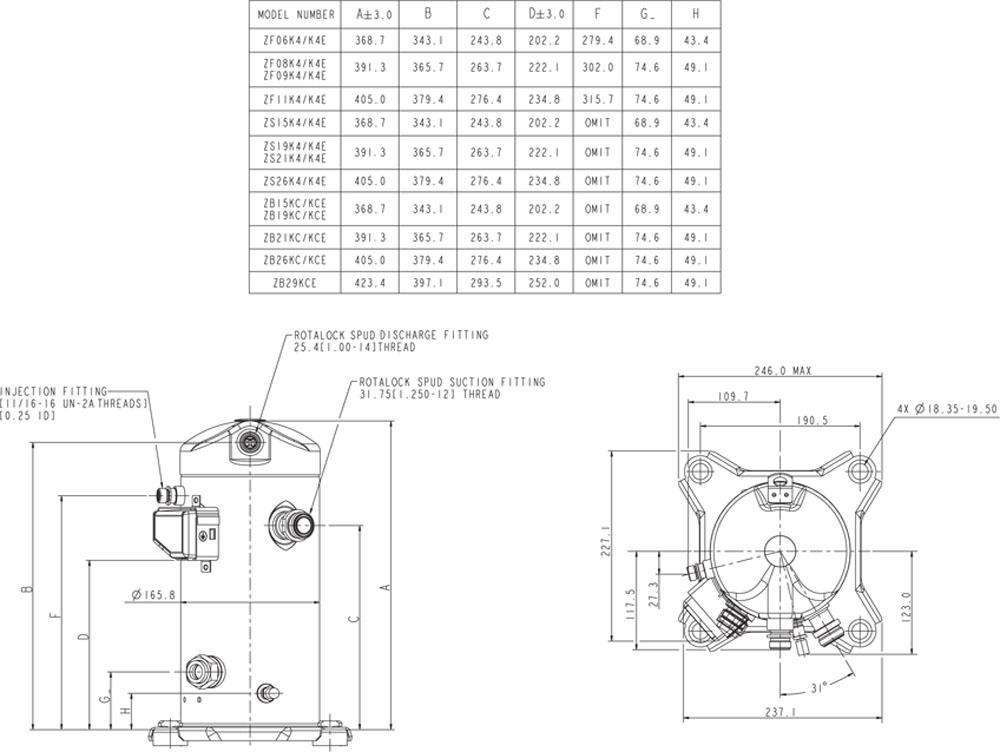 Габаритный чертёж спирального компрессора Copeland ZB15-29, ZS15-26, ZF06-11