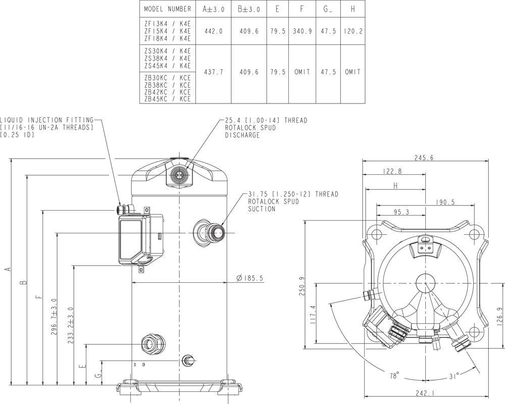 Габаритный чертёж спирального компрессора Copeland ZB30-45, ZF13-18, ZS30-45