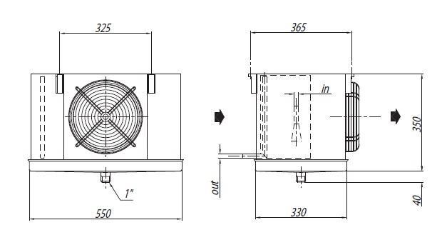 Габаритные размеры и чертеж воздухоохладителей Crocco серии NHA 11, NHA 15