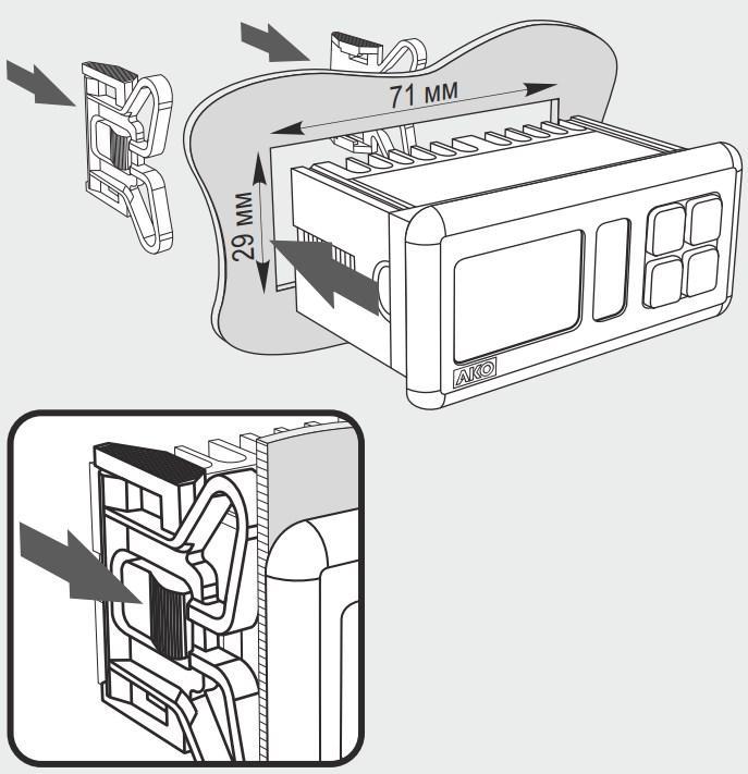 Схема по монтажу и габаритные размеры панельных контроллеров AKO