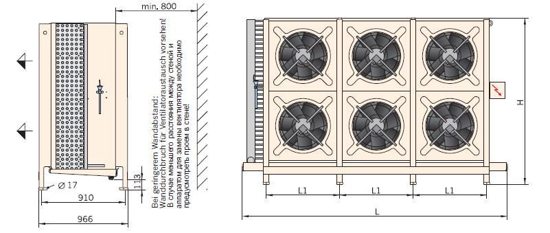 Чертеж шокфростера Guentner GFN на 6 вентиляторов