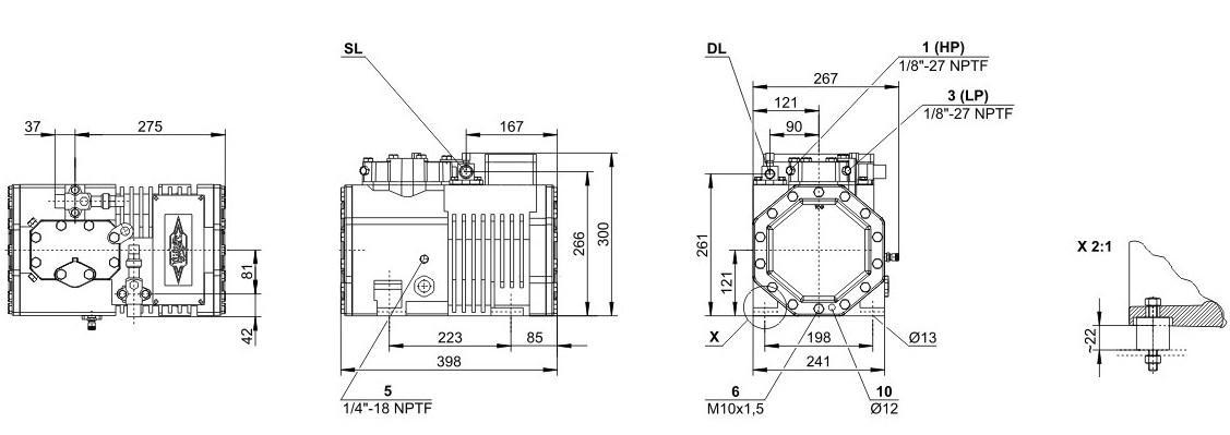 Габаритные и присоединительные размеры компрессоров Bitzer 2EC-2.2Y, 2EC-3.2Y