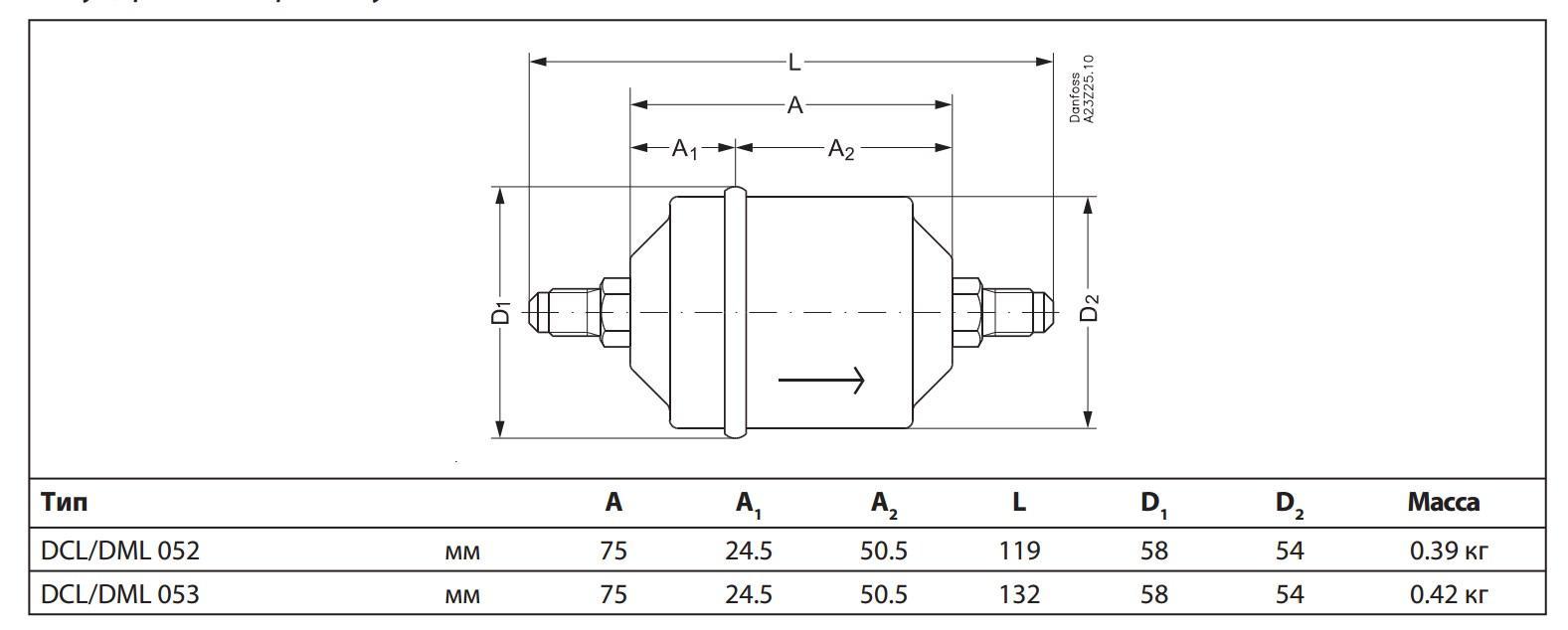 Габаритный чертеж фильтра DML/DCL Danfoss под отбортовку