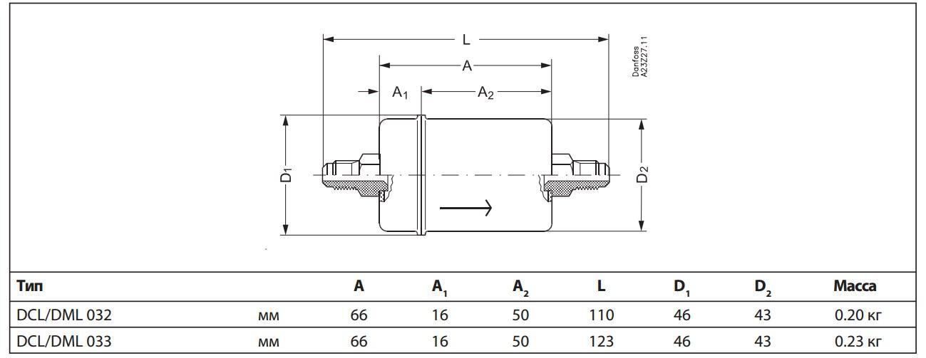 Габаритный чертеж фильтра DML Danfoss под отбортовку