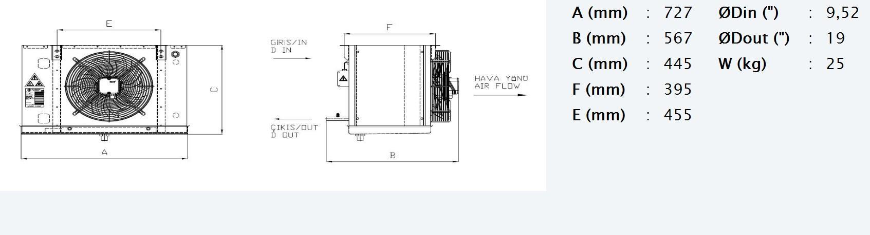 Габаритные и присоединительные размеры Karyer EA-130AE8-C01