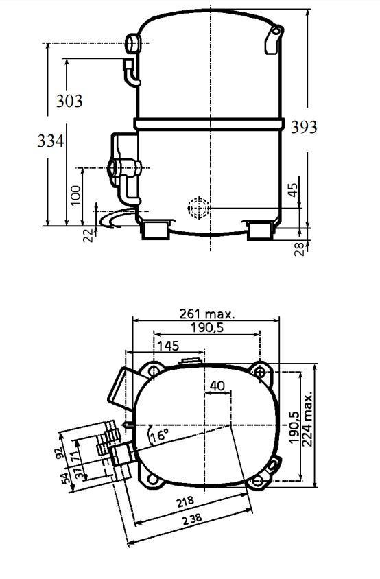 Чертеж и габаритные размеры компрессоров TAG4581