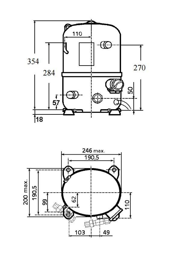 Чертеж и габаритные размеры компрессора TFH4522Z