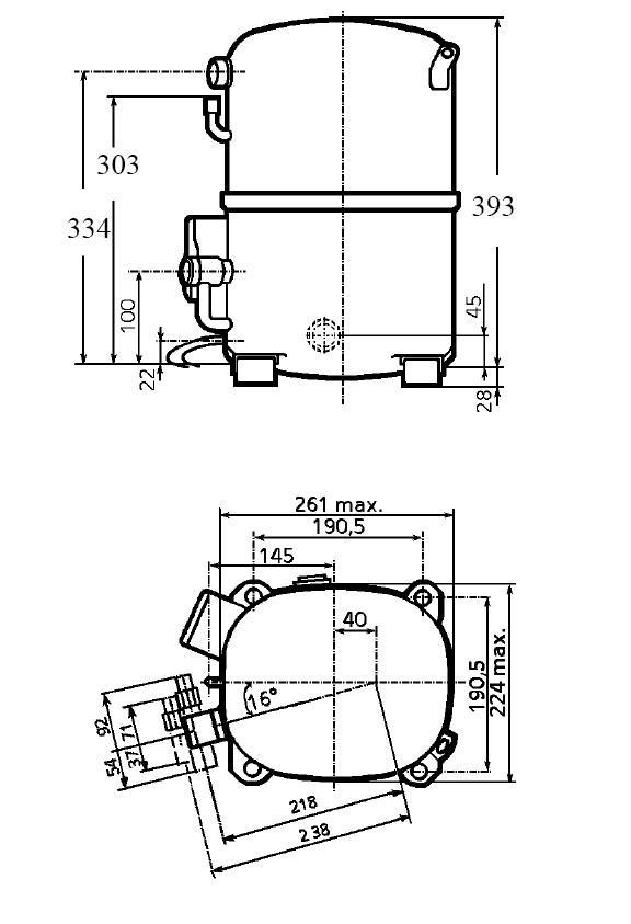 Чертеж и габаритные размеры компрессора TAG2525Z