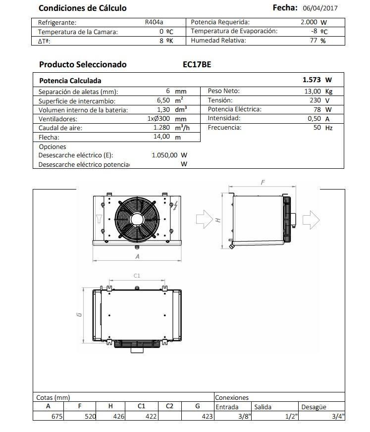 Характеристики и габаритные размеры воздухоохладителя Garcia Camara EC17BE