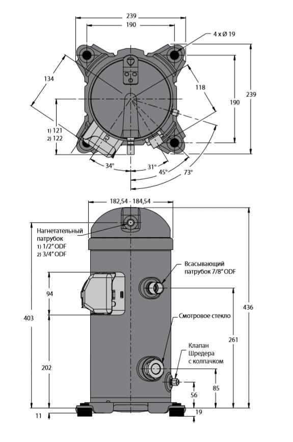 Габаритный чертеж спирального компрессора MLZ