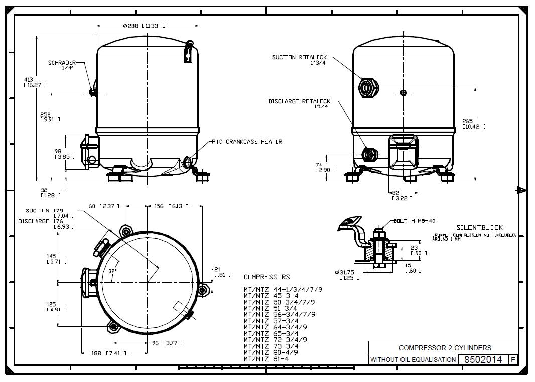 Габаритный чертеж Maneurop MTZ64-4VI