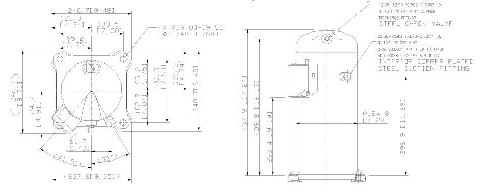 Габаритный чертеж спирального компрессора Copeland ZR-61