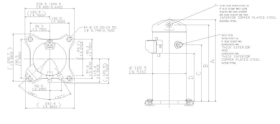 Габаритный чертеж спирального компрессора Copeland ZR-34