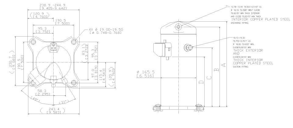 Габаритный чертеж спирального компрессора Copeland ZR-40