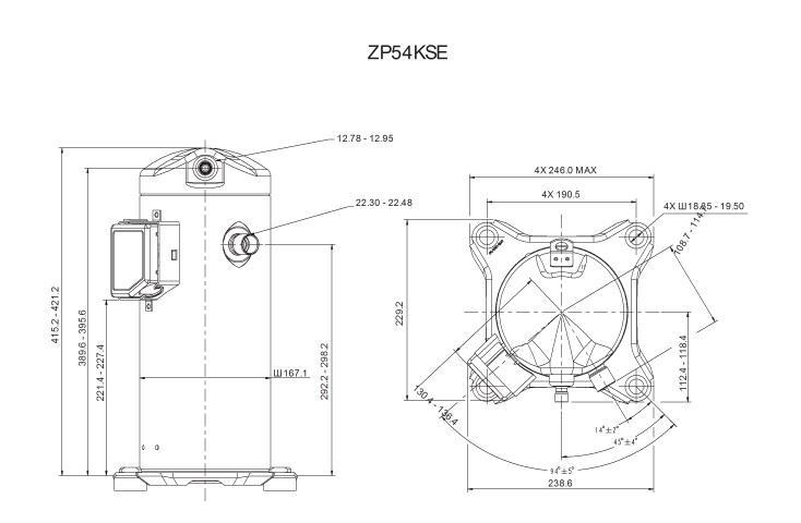 Габаритный чертеж компрессора Copeland ZP-54