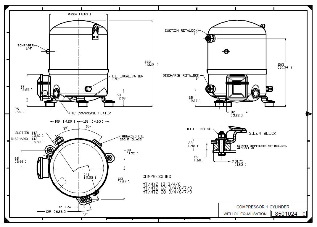 Габаритный чертеж Maneurop MT28-4VI