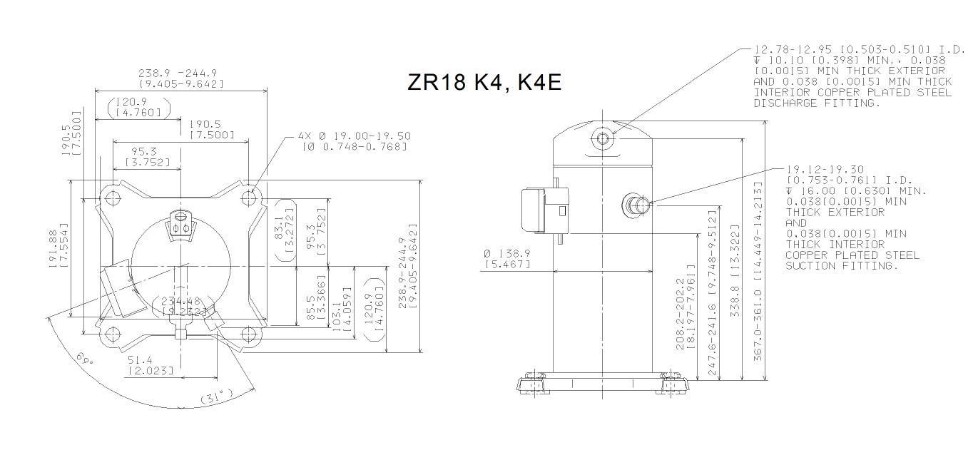 Габаритный чертеж спирального компрессора Copeland ZR-18K4(E)