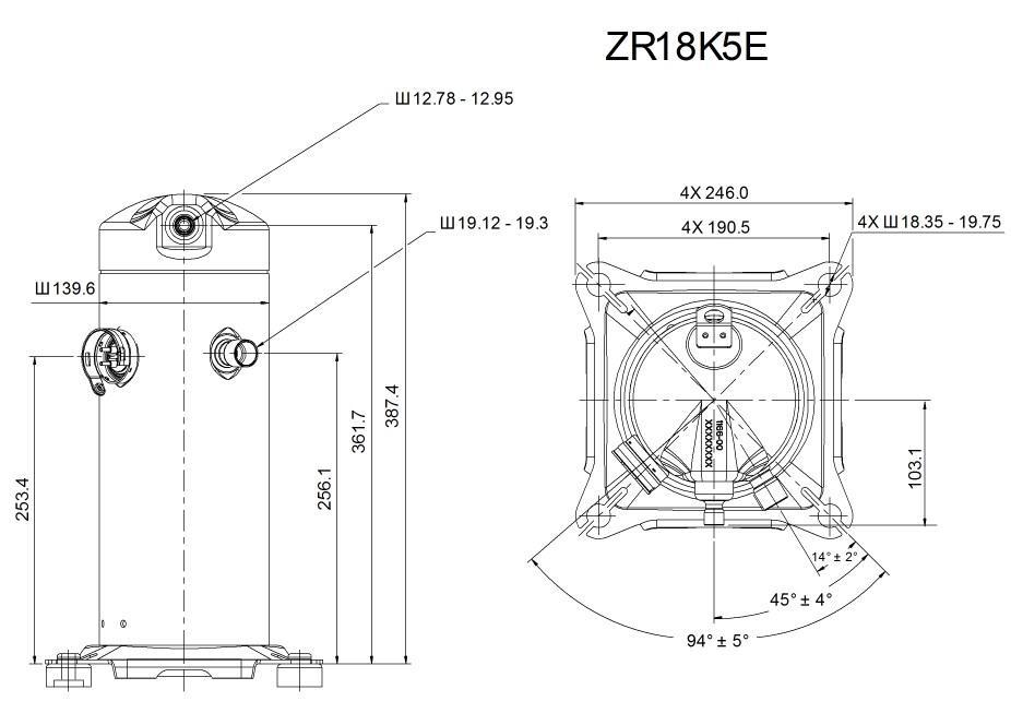 Габаритный чертеж спирального компрессора Copeland ZR-18K