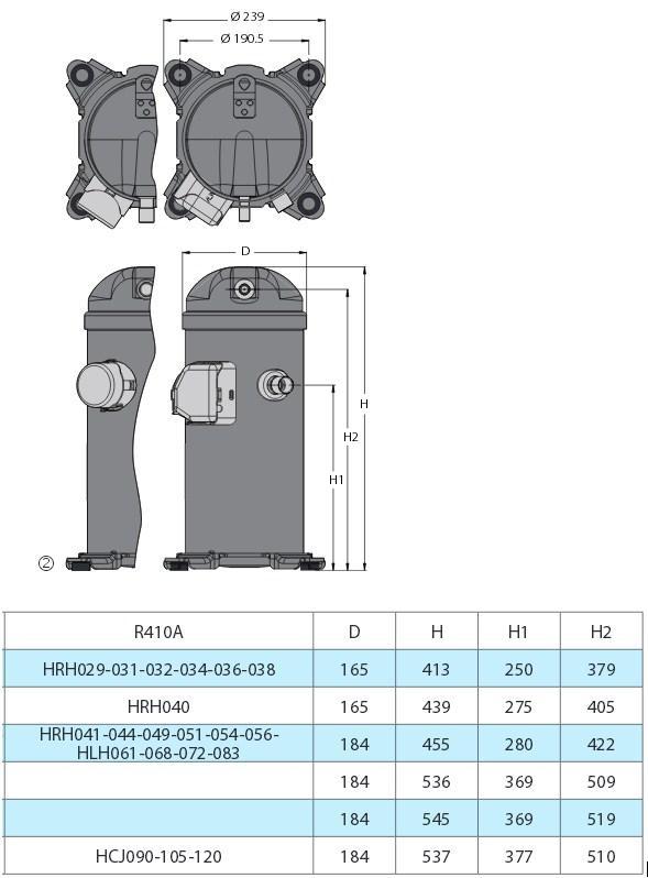 Габаритные размеры и чертеж компрессоров Danfoss серии H