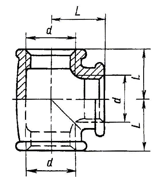 ГОСТ 8948-75 Соединительные части из ковкого чугуна с цилиндрической резьбой для трубопроводов. Тройники прямые. Основные размеры (с Изменениями N 1, 2)