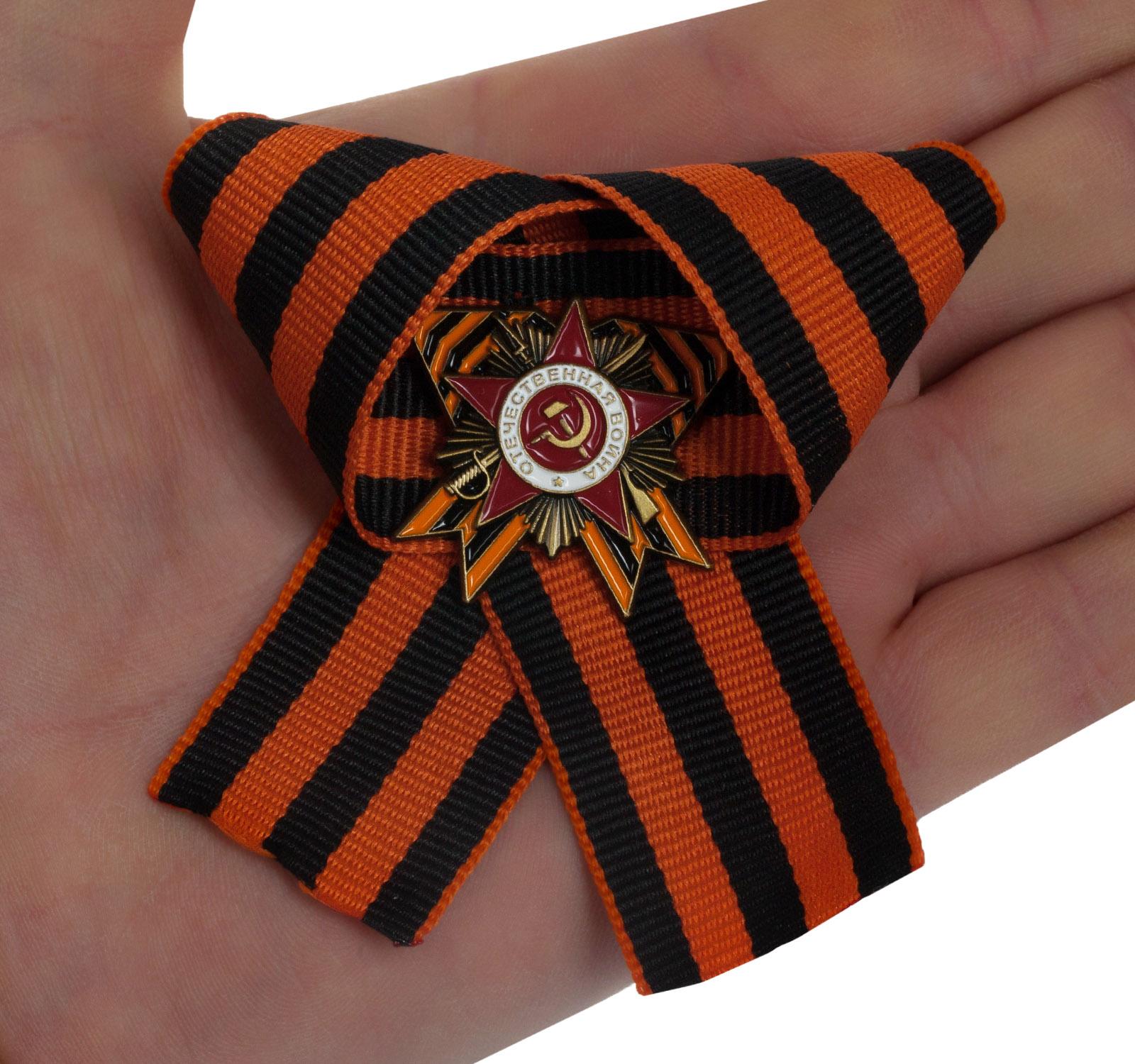 Значок с орденом Отечественной войны на Георгиевской ленте - фото Подарки, сувениры к 9 мая по низким ценам с доставкой