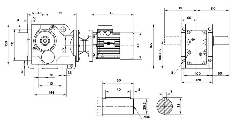 Размеры мотор-редуктора K37 (лапы)