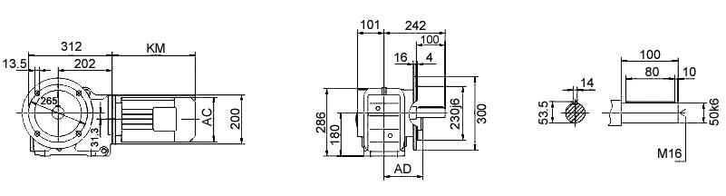 Размеры мотор-редуктора KF77 (фланец / цельный вал)
