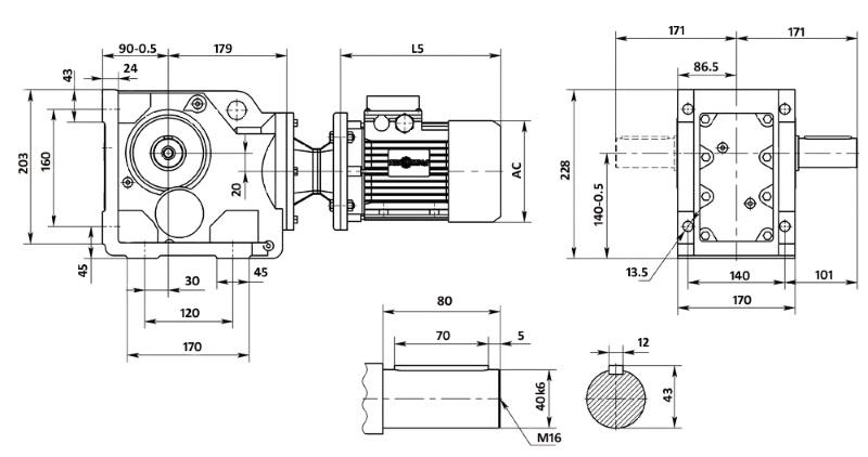 Чертеж мотор-редуктора K67 (лапы)