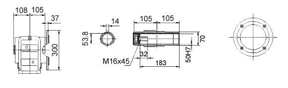 Размеры мотор-редуктора KAF77 (фланец / полый вал)