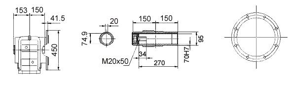 Размеры мотор-редуктора KAF97 (фланец / полый вал)