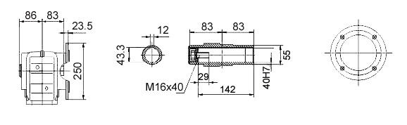 Размеры мотор-редуктора KAF57 (фланец / полый вал)