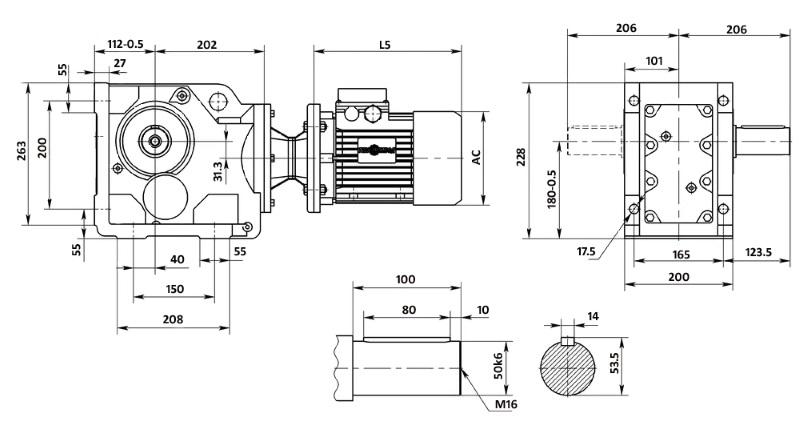 Чертеж мотор-редуктора K77 (лапы)