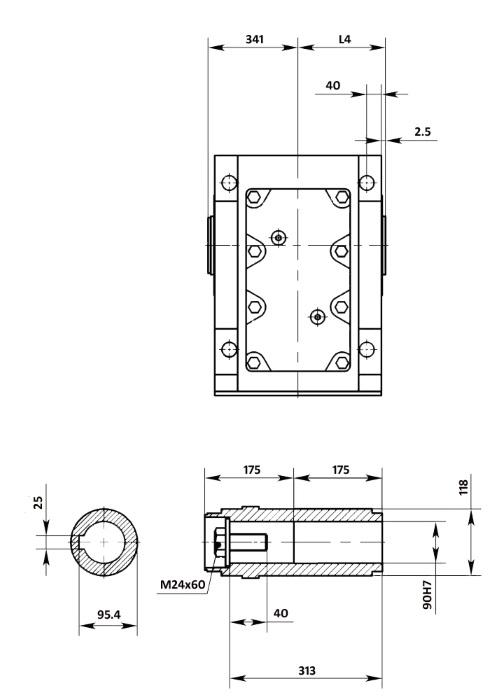 Размеры мотор-редуктора KA107B (лапы / полый вал)
