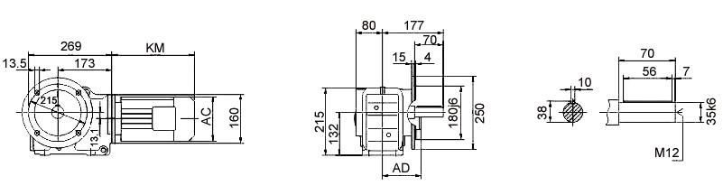 Размеры мотор-редуктора KF57 (фланец / цельный вал)