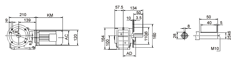Размеры мотор-редуктора KF37 (фланец / цельный вал)