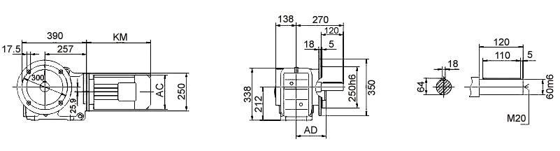 Размеры мотор-редуктора KF87 (фланец / цельный вал)