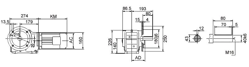 Размеры мотор-редуктора KF67 (фланец / цельный вал)