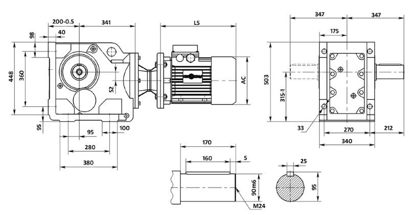 Чертеж мотор-редуктора K107 (лапы)