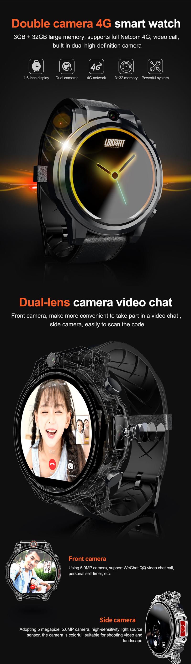LOKMATX3604G3+32G HD камера Часы-телефон 1,6  сенсорный экран Спорт Фитнес Смарт-часы - фото 1