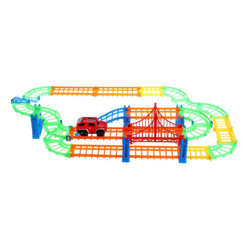 88шт / 90шт DIY трек гонки Авто детские игрушки Набор электрические Авто трек игрушки детские подарки 63,5 * 31,5 * 14,5 - фото 5