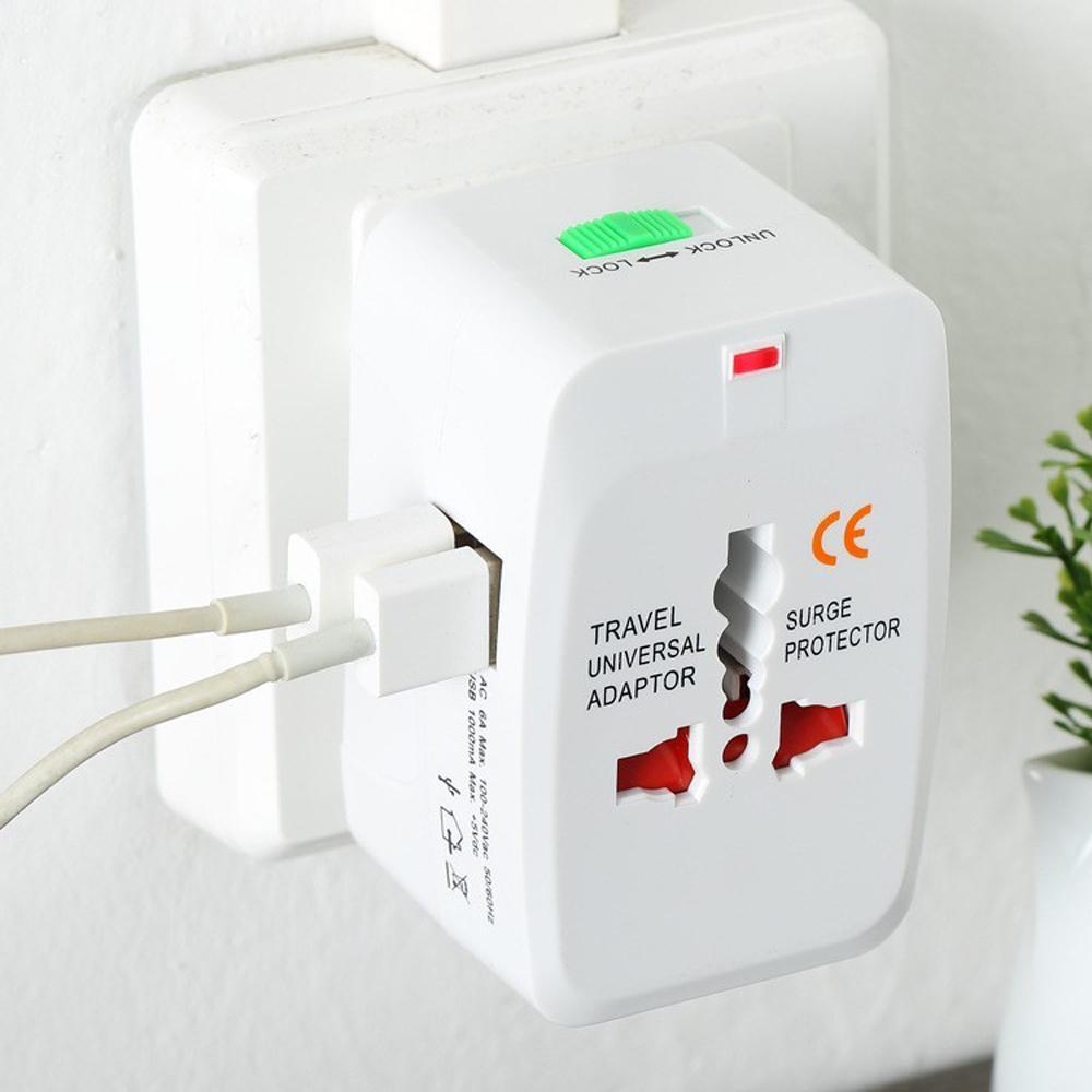 Все в One универсальный международный штекер адаптер 2 USB-порт World Travel AC зарядное устройство адаптер с AU США Вел - фото 2