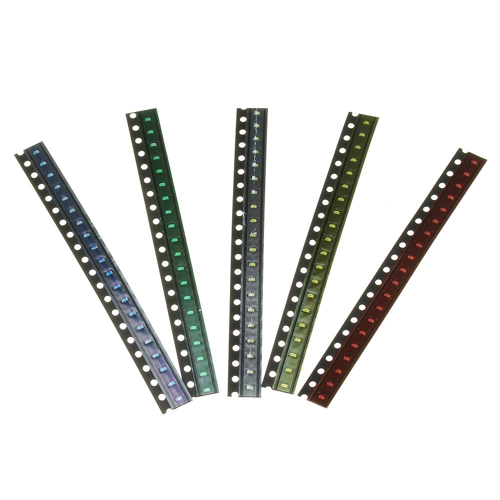2000шт 5 цветов 400 каждый 0603 LED диодный ассортимент SMD LED диодный Набор зеленый / красный / белый / синий / желтый - фото 1